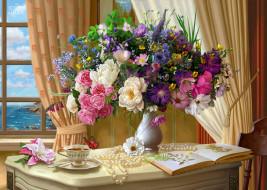 окно, бабочка, чай, букет, стол, цветы, живопись, шторы, ваза, жемчуг, чашка, арт, помещение