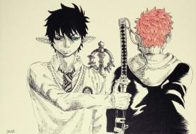 разное, арты, уши, оружие, меч, парни
