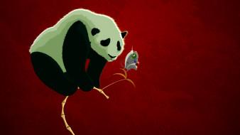 бамбук, бабочка, панда