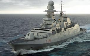 фрегат, f595, bergamini class, вмф италии, итальянский военно-морской флот, военные корабли, открытое море, luigi rizzo