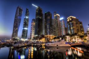 Дубай, огни, ночь, ОАЭ, skyline