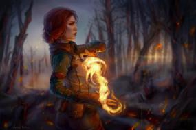 ведьма, огонь, лес
