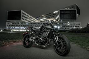 yamaha mt-09, мотоциклы, yamaha, ямаха, здание, wallhaven, сумерки, 500px