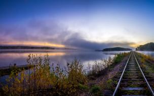 разное, транспортные средства и магистрали, шпалы, железная, дорога, причал, рельсы, рассвет, река, туман, деревья, небо, лес, осень