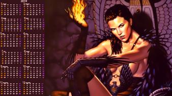 девушка, взгляд, огонь, пламя