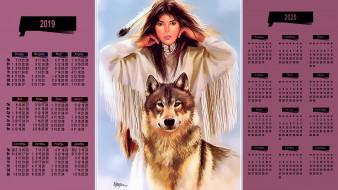 девушка, взгляд, волк, перо