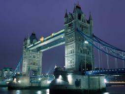 башни, Темза, огни, мост