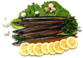 рыба, еда, зелень, лимон, грибы