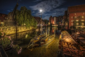 корабли, порты ,  причалы, ночь