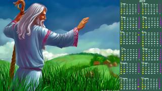 деревня, трава, мужчина, посох, старец