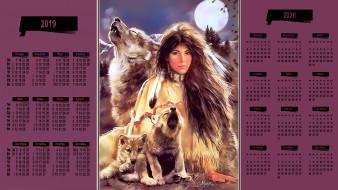луна, перо, девушка, взгляд, волк