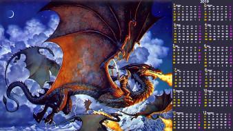 дракон, пламя, оружие, воин