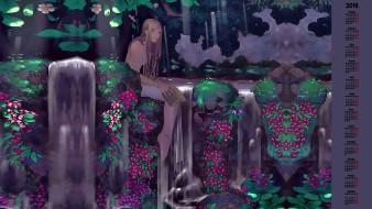 вода, природа, девушка, книга, растения