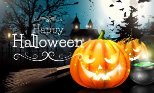 тыквы, замок, ночь, Halloween, Хэллоуин