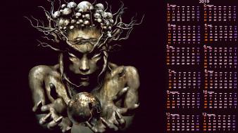 календари, фэнтези, лицо, существо