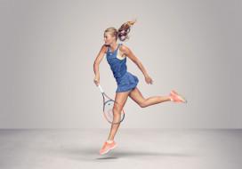 Kristina Mladenovic, теннис, фон, взгляд, девушка