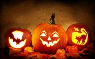 тыквы, свечи, свет, листья, Хэллоуин