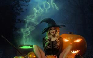 Александр Маврин, тыква, Хэллоуин, Halloween, шляпа, ночь, девушка