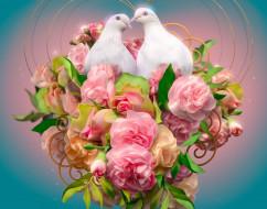 голуби, цветы