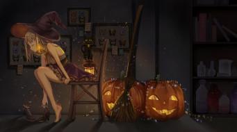 светильник Джека, черный кот, колдовство, Halloween, склянки, witch, black cat, шляпа ведьмы, ведьмочка, черная магия