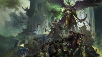 primarch, Ultramarines, demon, battle, Nurgle, Mortarion, plague, Death Guard, Warhammer 40 000, chaos, war, space marines