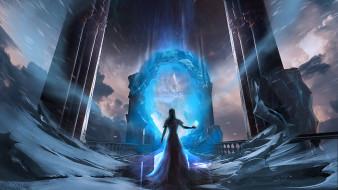 магия, девушка, портал