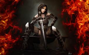 фэнтези, девушки, yennefer, witcher, game, art, madeinkipish, fanart, by, ivan, chibiryak, illustration, арт, меч, огонь, рисунок, девушка