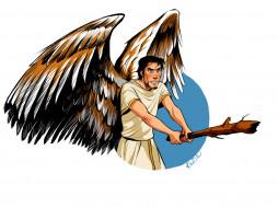 крылья, ангел, мужчина, палка