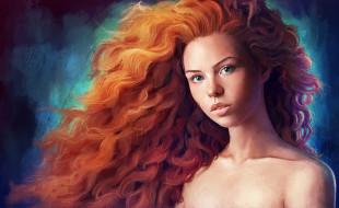 рисованное, живопись, волосы, взгляд, фон, девушка