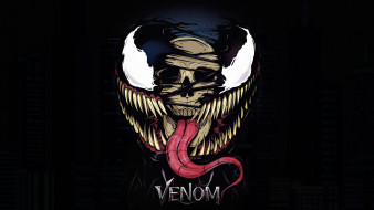 рисованное, комиксы, venom, by, alex, garcia, creatures, симбиот, веном, зубы, marvel, Череп, Язык