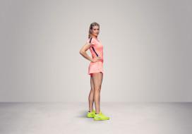 Eugenie Bouchard, девушка, теннис, фон, взгляд
