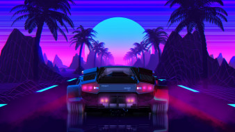 Outrun, Futuresynth, Синтвейв, Ретровейв, New Retro Wave, Synthwave, Videogame, Retrowave, Synth, Lamborghini Countach, Countach, Neon, 80s, Фон, Lamborghini