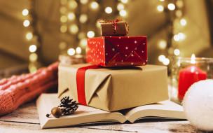 книга, лента красная, Рождество, праздник, Новый год, подарки