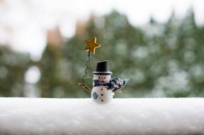 снег, игрушка, снеговик