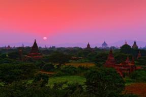 Мьянма, пейзаж, вид, зелень, изумруд, закат, Индокитай, Азия, государство