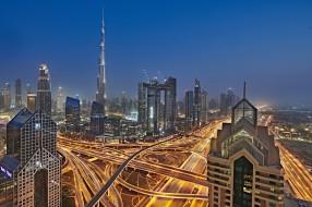 огни, Дубай, город, ночь