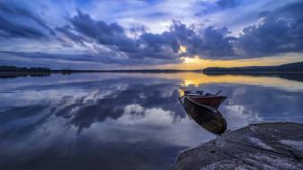 корабли, лодки,  шлюпки, закат, озеро, лодка, финляндия