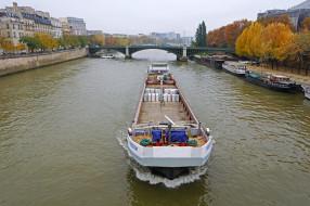 корабли, баржи, баржа, сена, река, город