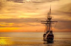 корабли, парусники, каравелла, закат, море