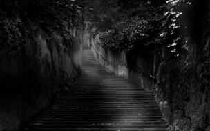 города, - другое, ступени, растения, лестница, стены