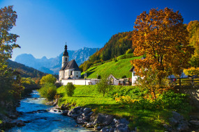 деревья, осень, горы, река, Германия, Бавария, церковь, Germany, Bavaria, Bavarian Alps, Баварские Альпы, Рамзау, Ramsau, St Sebastian Church, Ramsauer Ache River
