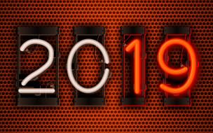 металлическая сетка, 2019 год, креативный, оранжевый фон, концепции 2019, неоновые цифры, с Новым 2019 годом