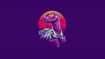 Synthwave, Очки, Synth, New Retro Wave, Retrowave, Neon, Велоцираптор, Синтвейв, Velociraptor, Арт, Динозавр