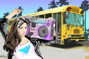 магнитофон, artwork, женщины, retrowave, wallhaven, ретро, автобусы