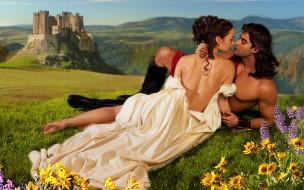 обнаженный, эротично, обнаженная, принцесса, влюбленные, белое платье, картинка, мускулы, волнистые волосы, мужчина, возвышенность, иллюстрация, лежат, торс, локоны