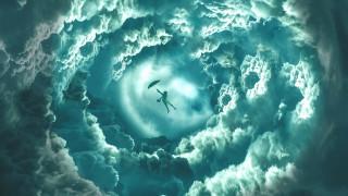 девушка, облака