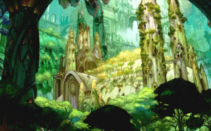замок, деревья, лес