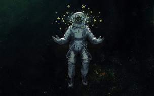 скафандр, осколки, космос, бабочки, космонавт