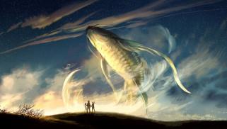 фэнтези, существа, небо, кит