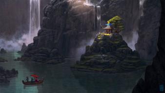 горы, река, лодка